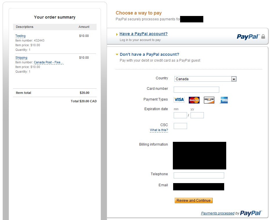 PayPal Hosted Page